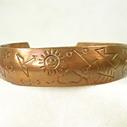 Vintage Native American Engraved Copper Cuff Bracelet