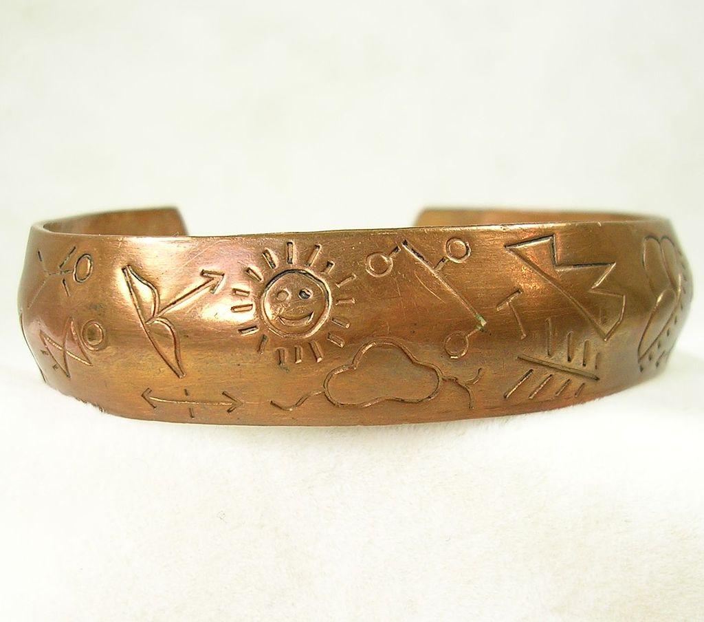 Vintage Native American Engraved Copper Cuff Bracelet