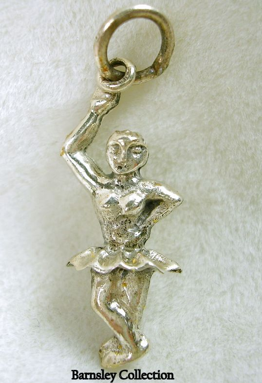 Vintage Sterling Silver Dainty Ballerina Charm