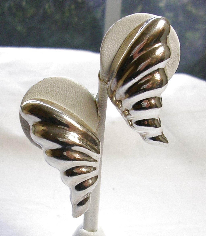 Signed Heche en Mexico Sterling Silver Leaf Earrings – c. 1960