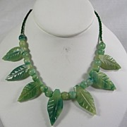 Vintage Carved Leaf Green Jade Necklace with Jade Beads