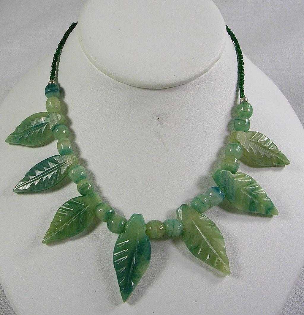 Vintage Carved Leaf Green Jade Necklace with Jade Beads