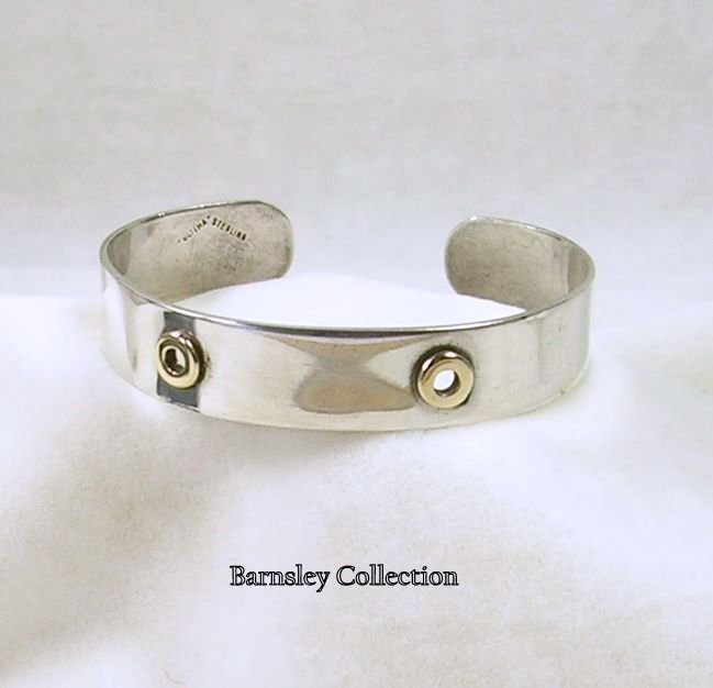 Signed Ultima Vintage Sterling Silver Nail Head Cuff Bracelet