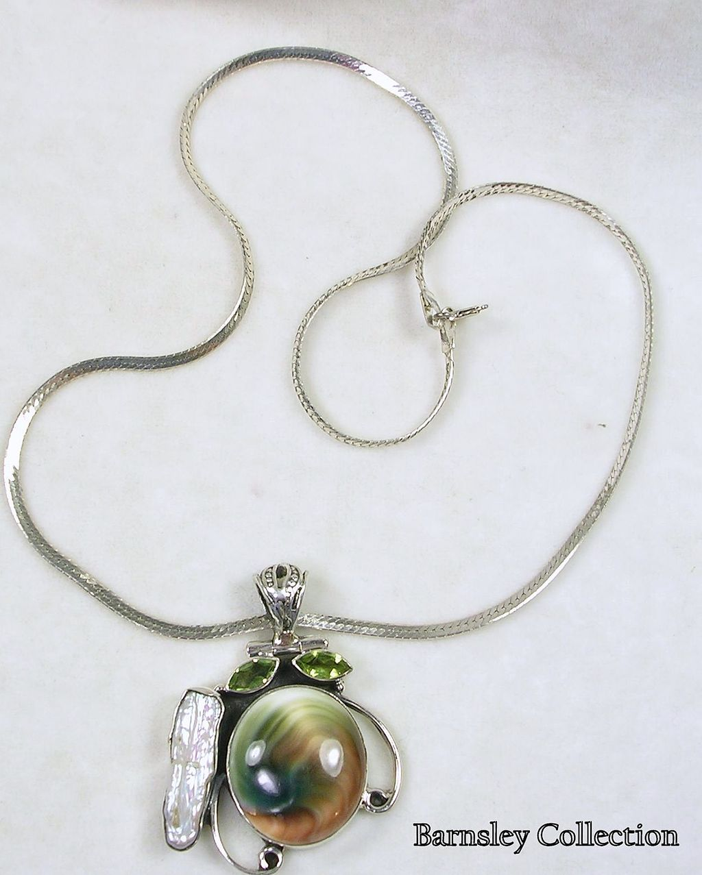 Sterling Silver Pendant Necklace with Peridot, Pearl, and Sea Shell with a Sterling Silver Chain