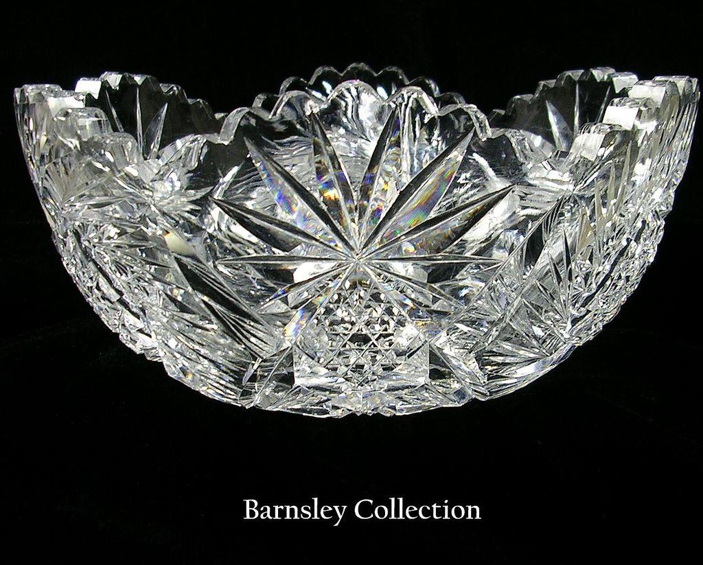 Antique American Brilliant Period Large Cut Glass Bowl