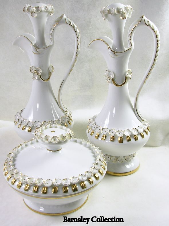 ATL IRICE Hand Painted Porcelain Cruets Set with Matching Bowl