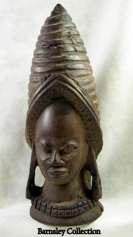 Collectible Hand Carved Wood African Female Statue