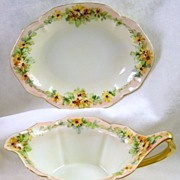 Signed RS Germany Vintage Gravy Boat and Tray