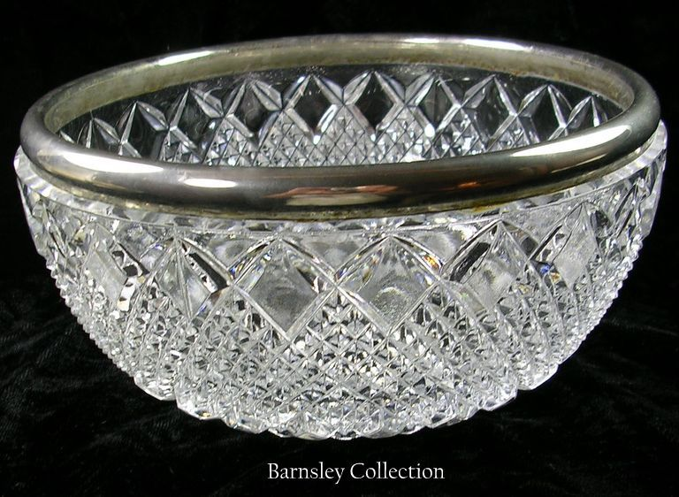 Silver Plated Cut Glass Large Serving Bowl