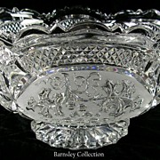 Vintage Ornate Cut Glass Bowl with Scallop Edges – Beautiful!