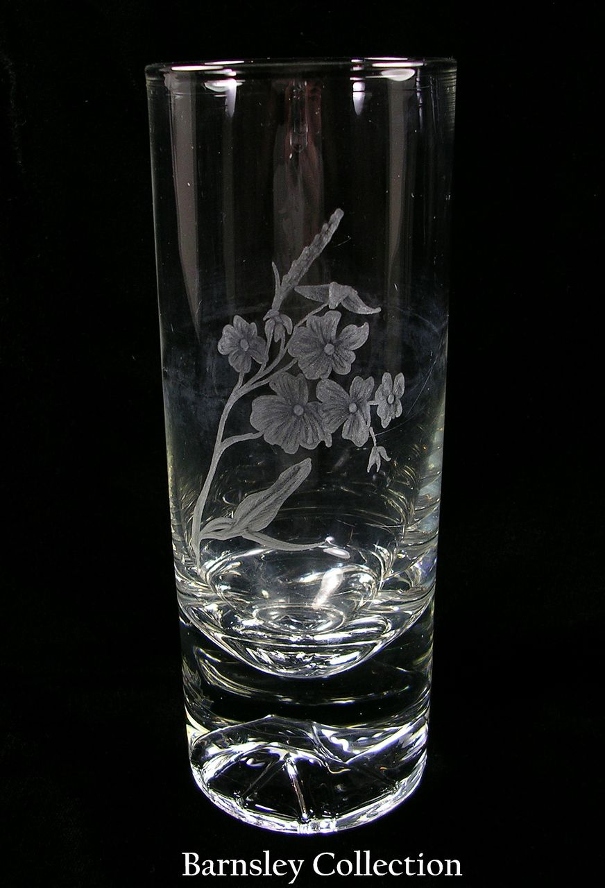 Unusual Cylindrical Hand Blown Vase with Etched Flowers on Side