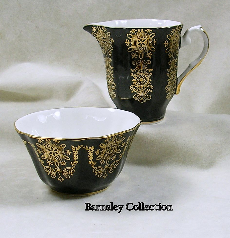 Royal Grafton Bone China Sugar & Creamer Black with Gold