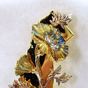 "Signed ""The Franklin Mint Co."" Swarovski Crystal Floral Brooch in Gold Tone"