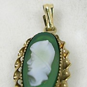 Signed CC Vintage Cameo Pendant in 12KGF