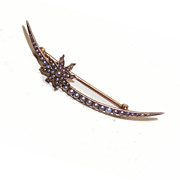 ANTIQUE VICTORIAN 14K Gold & Natural Pearl Crescent Moon & Star Pin/Brooch!