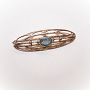 Adorable ANTIQUE EDWARDIAN 10K Gold & Blue Glass Paste Pin/Brooch!
