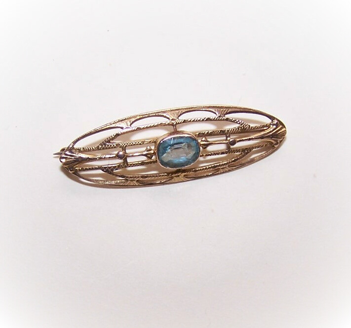Adorable ANTIQUE EDWARDIAN 10K Gold & Blue Rhinestone Paste Pin/Brooch!