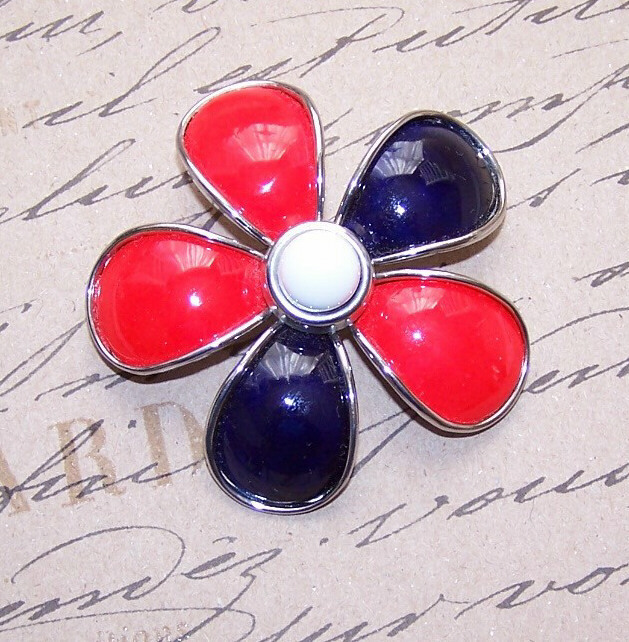 ... Metal Cold Enamel RED/WHITE/BLUE from robinsnestmidwest on Ruby Lane