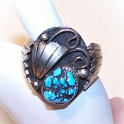 Vintage STERLING SILVER & Turquoise Nugget Ring for a Gent!