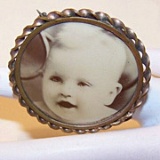 Vintage Gilt Brass Photo Pin Holding Celluloid Photo of Baby!