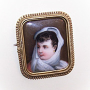 ANTIQUE VICTORIAN Portrait Pin/Brooch - Handpainted Lady on Porcelain!