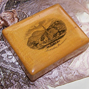 VICTORIAN Mauchline Ware/Treen Trinket Box from Lourdes, France!