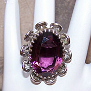 H-U-G-E Sterling Silver & Amethyst Glass Paste Fashion Ring!