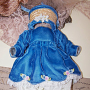 3-Piece Blue Velvet and Lace Outfit for a Doll!