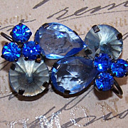 AUSTRIAN Black Metal & Blue Rhinestone PIn/Brooch!