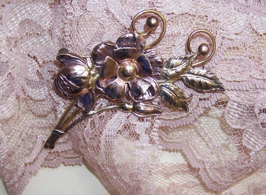 1950s Retro Modern STERLING SILVER & Gold Filled Two Tone Floral Pin/Brooch!