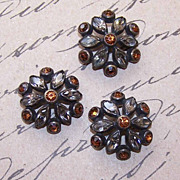 Set/3 ART DECO Buttons - Gilt Metal & Rhinestones!