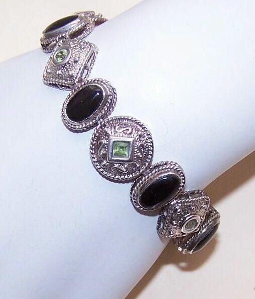 Vintage STERLING SILVER, Peridot & Black Onyx Fashion Bracelet!