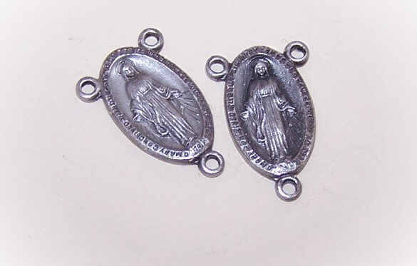 2 STERLING SILVER Religious Center Medals for Rosary - Virgin Mary!