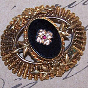 EDWARDIAN REVIVAL 1950s Gold Filled, Onyx & Rhinestone Pin/Brooch by Carl-Art!
