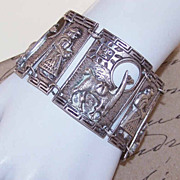 Fabulous & Heavy VINTAGE 900 Silver Link Bracelet Made in Peru!