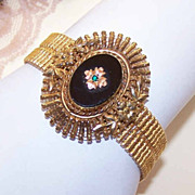EDWARDIAN REVIVAL 1950s Gold Filled, Onyx & Rhinestone Bracelet by Carl-Art!