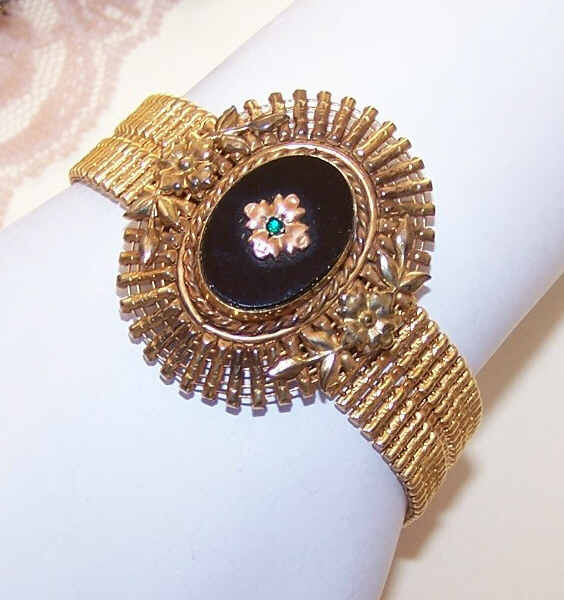 EDWARDIAN REVIVAL 1950s Gold Filled, Onyx & Rhinestone Bracelet by Carl-Art!