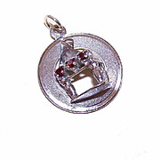Vintage STERLING SILVER Charm - 1960s Rhinestone Disc Charm with Piano!