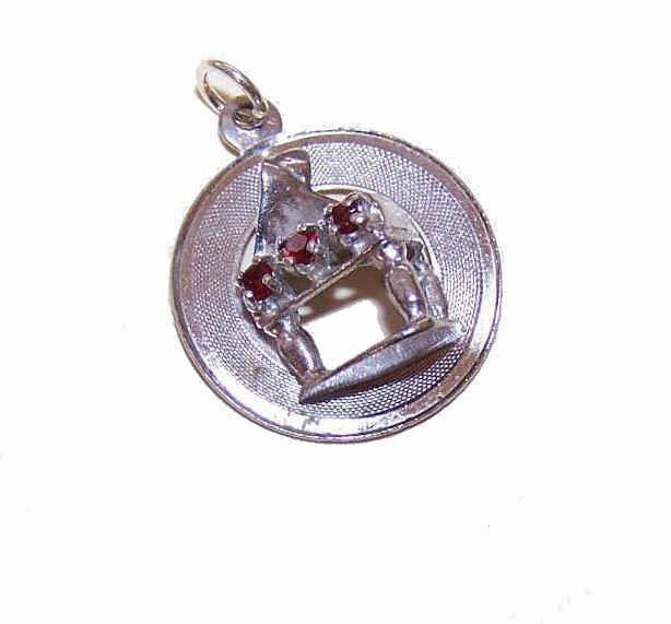 1960s STERLING SILVER & Rhinestone Disc Charm - Piano!