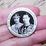 Dated 1937 Celluloid Coronation Pin For King George VI & Queen Elizabeth!