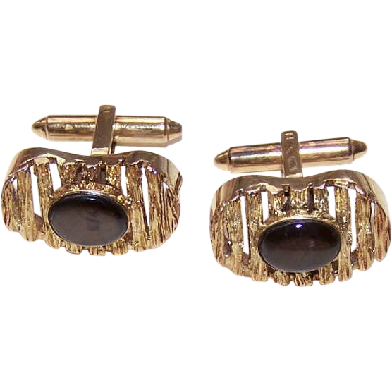 1950s 14K Gold & Black Mother of Pearl CUFFLINKS/Cuff Links - 16.6 Grams!