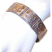 Hefty C.1960 STERLING SILVER & Gold Overlay Link Bracelet from Mexico!