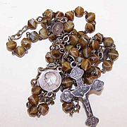 Vintage FRENCH SILVERPLATE & Glass Bead (Agate) Rosary!