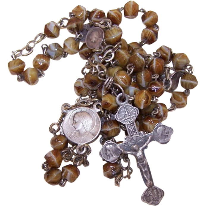 Vintage FRENCH SILVERPLATE & Glass Bead (Agate) Rosary