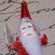 1960s Made in Japan RED CHENILLE Santa Ornament - Pressed Paper Face!