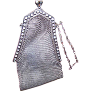 Beautiful WHITING & DAVIS Mesh Purse with Rhinestones!