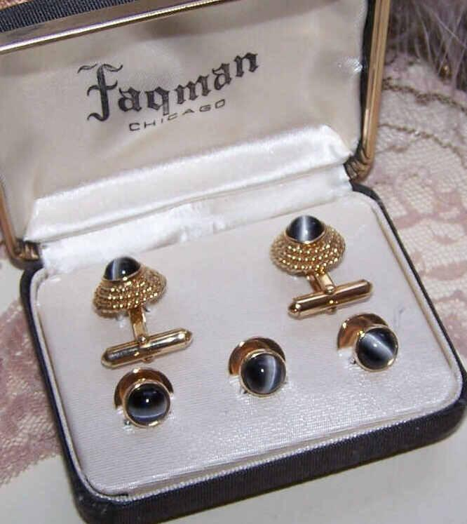 Vintage Gold Tone & Catseye BOXED SET - Cufflinks & Studs!