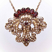 VICTORIAN REVIVAL 14K Gold, Garnet & Seed Pearl Pendant/Pin Combo!