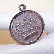 Vintage STERLING SILVER Disc Charm by La Mode - A Date to Remember!