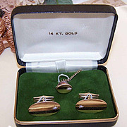 BOXED SET 14K Gold & Diamond Cufflinks and Tie Pin/Tie Tack!
